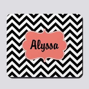 Black Coral Chevron Personalized Mousepad